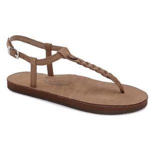Rainbow t street single layer center braid sandals